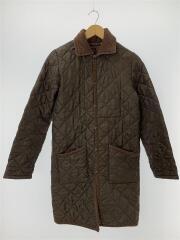 キルティングジャケット/SIZE:36/ポリエステル/ブラウン/無地/フード欠品