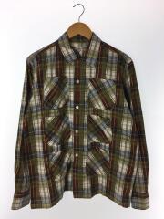 6ポケット加工チェックシャツ/長袖シャツ/M/コットン/カーキ/チェック