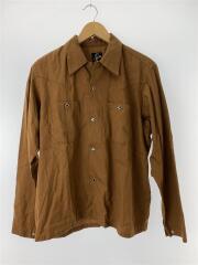 オープンカラーシャツ/長袖シャツ/S/テンセル/ブラウン/無地