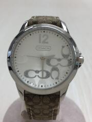 シグネチャー/CA.13.7.14.0647/クォーツ腕時計/アナログ/レザー/ホワイト/ベージュ
