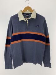 Long-Sleeved Lightweight Rugby Shirt/M/コットン/ネイビー