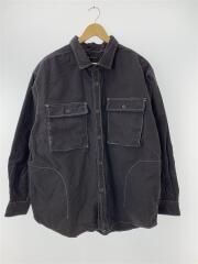 20AW/起毛バルーンビッグシャツ/長袖シャツ/M/コットン/グレー/無地