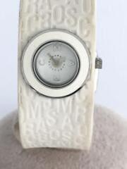 クォーツ腕時計/アナログ/ラバー/WHT/WHT/MBM2520/汚れ有