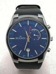 クォーツ腕時計/アナログ/レザー/BLU/BLK/853XLSLN