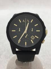 クォーツ腕時計/クロノグラフ/アナログ/ラバー/BLK/AX7105