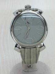 MANUALE THIN/46MM/5090-07/クォーツ腕時計/レザー/GRY/GRY/ガガミラノ