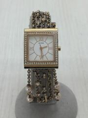 クォーツ腕時計/アナログ/ステンレス/WHT/GLD/W0140L3