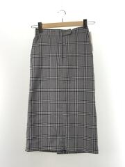 タグ付/チェックタイトスカート/ミモレ丈スカート/O/ポリエステル/GRY/チェック/09WFS184053