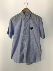ワンポイントワッペン半袖シャツ/AZ-B022/M/コットン/BLU/ストライプ/AD2019/11