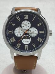 クォーツ腕時計/アナログ/レザー/NVY/BRW