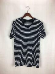 Tシャツ/L/コットン/BLK/ボーダー