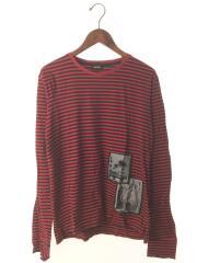 長袖Tシャツ/XS/コットン/RED/ストライプ