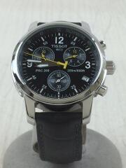 クォーツ腕時計/アナログ/レザー/BLK/T461