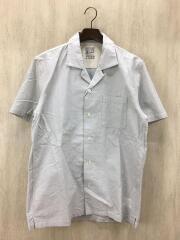 半袖シャツ/L/コットン/GRY/無地/オープンカラーシャツ