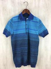 ポロシャツ/M/コットン/BLU