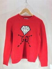 gucci ghost/GG diamond sweater/セーター(厚手)/M/ウール/RED