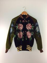 17AW/Sequin Floral Detailed Bomber Jacket/スカジャン/38/レーヨン/NVY