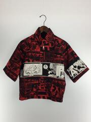 18ss LOOK21/コミックプリント/半袖ジップシャツ/44/コットン/RED/総柄// ジップアップ