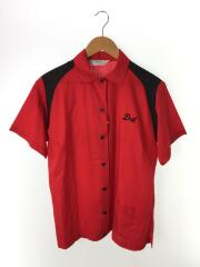 70s/ボーリングシャツ/フロッキープリント/半袖シャツ/40/コットン/RED/レディース合わせ
