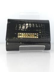 エナメルクロコ型押し/2つ折り財布/エナメル/ラインストーン/ダークグリーン