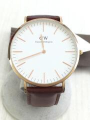 クォーツ腕時計/アナログ/レザーベルト/WHT/BRW/B40R11