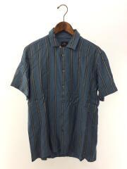 オープンカラーシャツ/半袖シャツ/L/レーヨン/BLU/ストライプ/PY-WR-53875