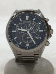 クォーツ腕時計/アナログ/ステンレス/BLK/SLV/傷有り/E610-S104203