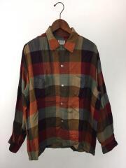60s/レーヨンオープンカラーシャツ/L/レーヨン/マルチカラー/チェック/ヴィンテージ