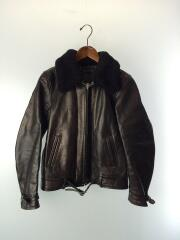 12AW GRIZZLY LEATHER JACKET/襟ボア(ムートン)/S/牛革/BLK/LEA-14