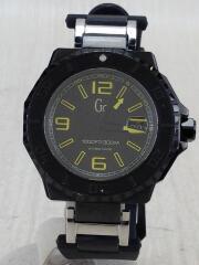 クォーツ腕時計/アナログ/レザー/BLK/BLK/X79014G2S