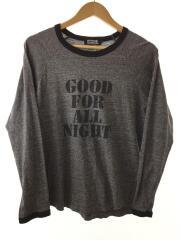 ロンT/長袖Tシャツ/M/コットン/GRY/
