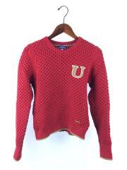 セーター(厚手)/38/コットン/RED/Uロゴ/E1N50-754-15