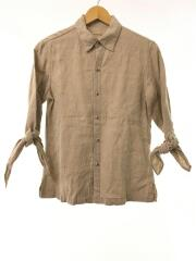 長袖シャツ/1/リネン/BEG/麻/袖/リボン/五分袖