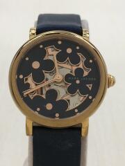 クォーツ腕時計/アナログ/レザー/GLD/NVY/MJ1628