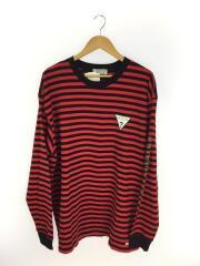 長袖Tシャツ/L/コットン/RED/ストライプ