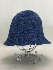 ヘッドウェア/ストローハット/コットン/帽子/青/ブルー