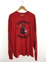 FRUIToftheLOOM/SUPPORT CONNECTICUT/90s/長袖Tシャツ/XL/コットン/RED