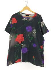 18SS/スカルローズ Tシャツ/3/コットン/BLK/総柄/HW-T82-054