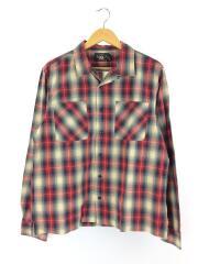 オープンカラーシャツ/長袖シャツ/L/コットン/RED/782775762001