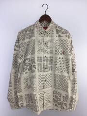 20SS/Paisley Grid Shirt/長袖シャツ/L/コットン/ホワイト/ペーズリー