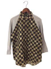 7分袖シャツ/S/コットン/カーキ/チェック/PI-B060/AD2011