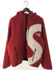 20AW/S Logo Hooded Fleece Jacket/フリースジャケット/L/ポリエステル/RED