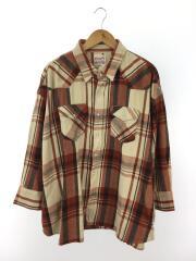 ネルシャツ/S/コットン/ブラウン/チェック/WT0009