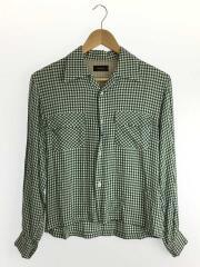 チェックオープンカラーシャツ/長袖シャツ/1/レーヨン/グリーン/チェック