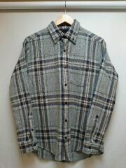 長袖シャツ/M/ウール/GRY/チェック/ネルシャツ/古着/アメカジ/ボタンダウン/ブルー/グレー
