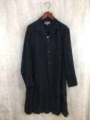 オープンカラーレーヨンシャツ/2/レーヨン/BLK/hg-b37-217/ロングシャツ