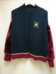 パーカー/S/ウール/NVY/TOMMY ICONS/18AW/colour block sweater/切替ファ