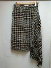 フリンジアシンメトリースカート/36/ウール/ブラック/ブラウン/チェック