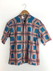 半袖シャツ/S/コットン/マルチカラー/総柄/和ネック総柄ハーフスリーブシャツ