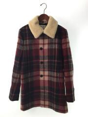 【未使用】/L/46/RED/チェック/Check Coat With Shearling Collar